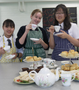 International students taking afternoon tea at Sibford school