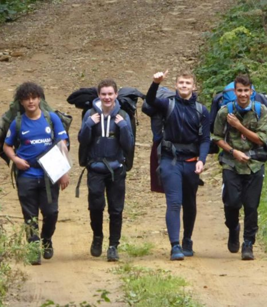 boys with hiking gear on their Duke of Edinburgh hike
