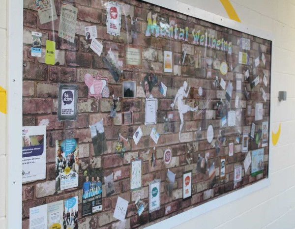 mental wellbeing wall at Chaigeley School
