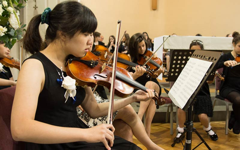 students in a music concert at The Mount School
