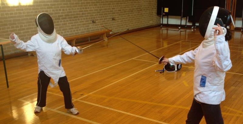 Children from The Mount School in York fencing