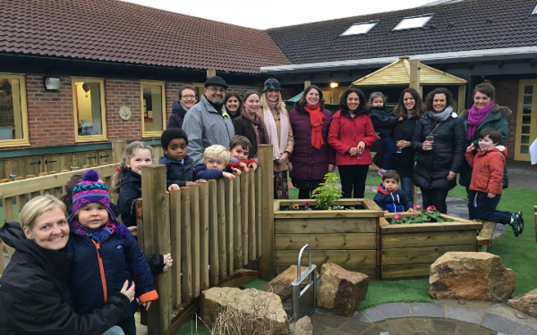 Bootham school new EYFS playground opening with parents and students