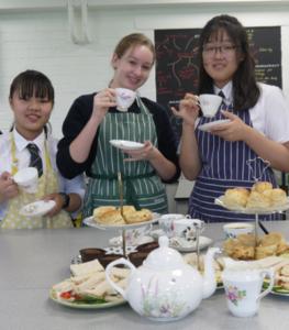 International students taking afternoon tea at Sibford school