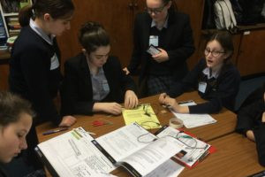 The Mount School girls completing the Faraday challenge