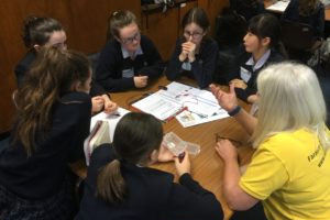 The Mount School girls working on the Faraday challenge