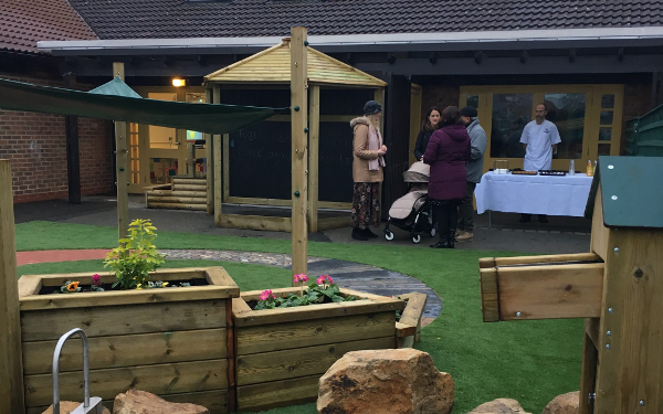 parents and children in the new Bootham EYFS playground