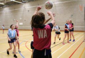 The Mount School girls playing netball
