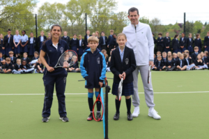 Tim Henman with staff and students at Ackworth School