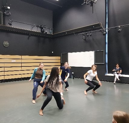 Sidcot students learning a dance routine